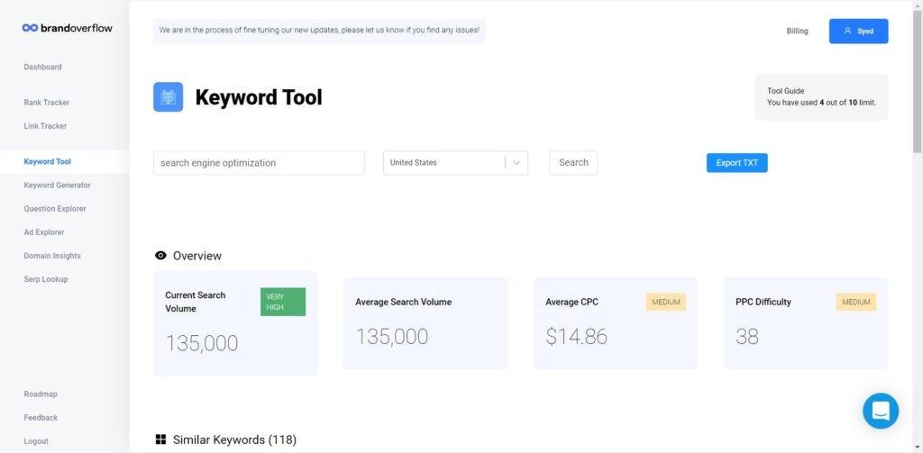 brand overflow keyword tool