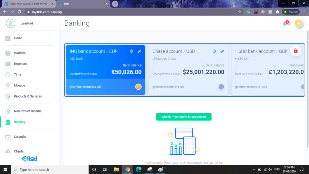 fiskl banking dashboard