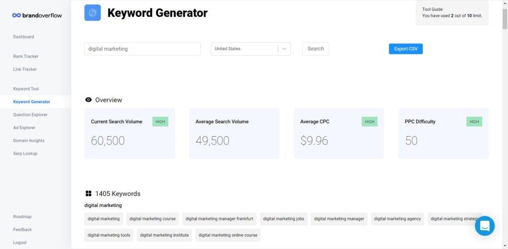 Brand Overflow keyword generator screenshot